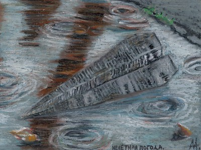 """Unflying weather"" (oil pastel) by Aleksey Makarevich"