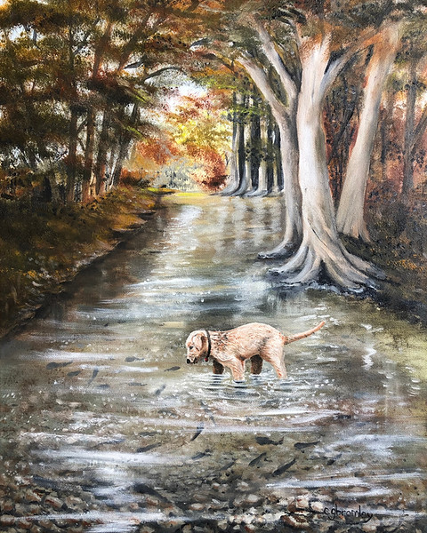 """""""Fishing"""" (oil on canvas) by Crista Bromley"""