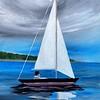 """Stromy Sail"" (acrylic on canvas) by Balajee Kalyanasundaram"