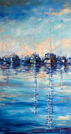 """""""Yachts"""" (oil on canvas) by Kateryna Ivonina"""