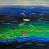 """Salmon Layers"" (oil on canvas) by John Hemmen"