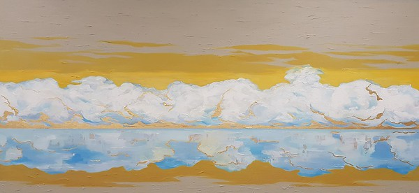 """""""The clouds"""" (acrylic, gold leaf on canvas) by Iuliia Fedotova"""