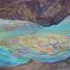 """Underground Lake"" (gouache, tempera, watercolor, mixed media on paper) by Xenia Miryanina"