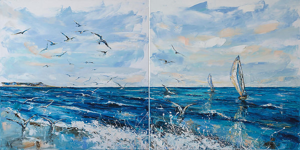 """Seagulls"" (oil on canvas) by Kateryna Ivonina"