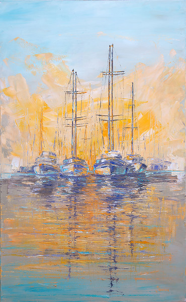"""""""Morning yachts"""" (oil on canvas) by Kateryna Ivonina"""