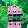 """Cabin by the Lake"" (acrylic on canvas) by Balajee Kalyanasundaram"
