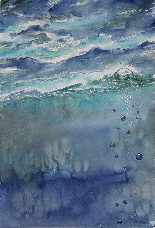 """""""Time to Surface"""" (watercolor) by Mary Estrem"""