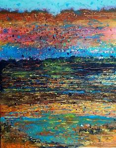 """""""Sunset Water"""" (acrylic on canvas) by Mariana Blinova"""