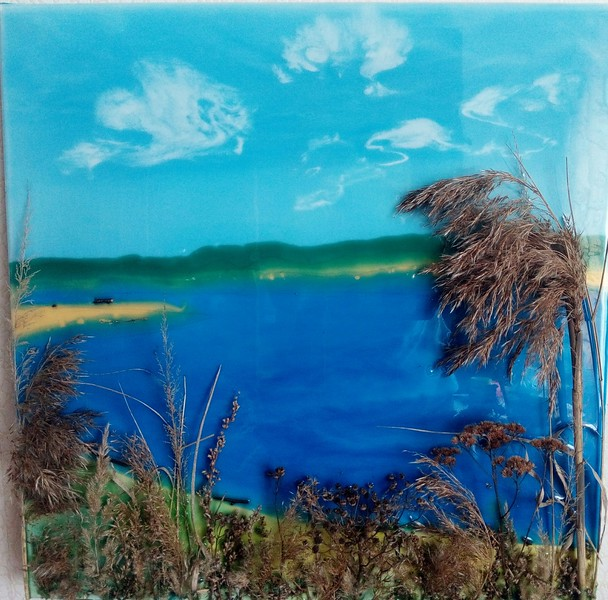 """Spring Lake"" (mixed media on wood) by Yulia Faer"