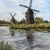 """Mills near the lake"" (oil) by Olga Vislovich"