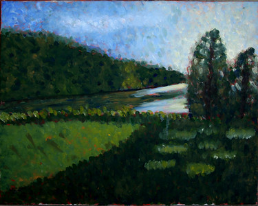 """""""Cougar Lake"""" (oil on canvas) by Taylor Bernhardt"""