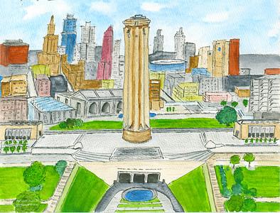 WW I Liberty Memorial & Kansas City Skyline