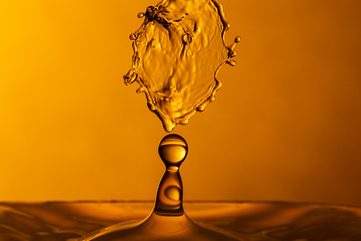 Molten Caramel Water Drop Collision
