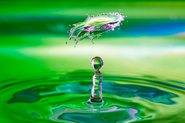 Green Water Drop and Floating Collision