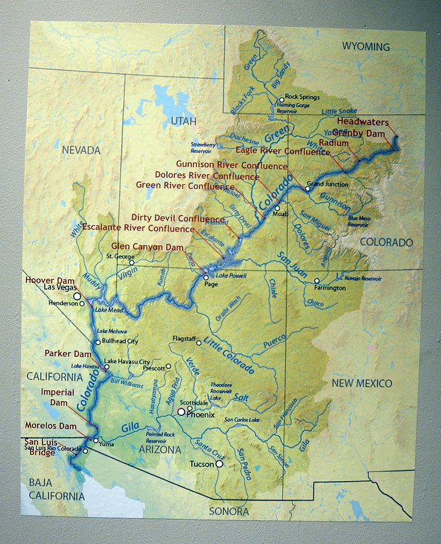 . LONGMONT, CO: January 30, 2019:  This map of the Colorado River shows the 14 sites were the images were made.  Water Flow: Under the Colorado River, created  by  photographer, Kathleen Velo, is a new exhibit at the Longmont Museum.   (Photo by Cliff Grassmick/Staff Photographer)