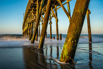 Beach Pier and Crashing Waves, NC Cost