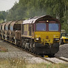 66167 heads a lonely open and 5 autoballasters on 6D44 Bescot - Toton