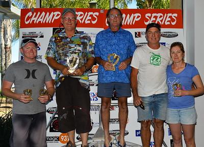 15's winners. (L to R) 3rd Rhett Dempsey /Nic Malinovski(abset), 1st John Goodbody/Ian Williamson, 2nd Mark Webber/Tanya Webber