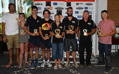 Super winners (LtoR)..equal 3rd  Todd Williamson/Emma Thomson, Ben Pilgrim/Jaiden Wilkinson,  1st Kelly-Lee Gantz/Anthony Lincoln,  2nd Barry Glover/Jayd Glover