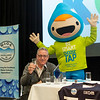 John Harris representing Wannon Water - Winners of the Ixom 2018 Best Tasting Tap Water in Victoria with Tap Man - Choose Tap mascot  from Coliban Water