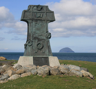 Varyag memorial, Lendalfoot. Ailsa Craig in the distance.