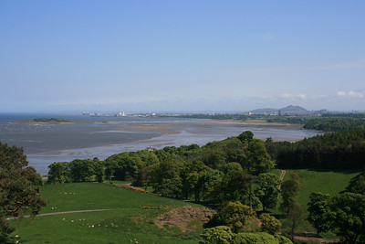 Cramond Island and Edinburgh from Mons Hill, Dalmeny estate.
