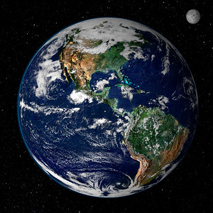 Earth and Moon Satellite Image