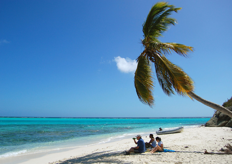 We took the dinghy to Jamesby for lunch on our deserted Caribbean isle.