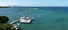 Panoramic of the view from Barefoot.  Our boat on the dock.  Bequia in the distance.