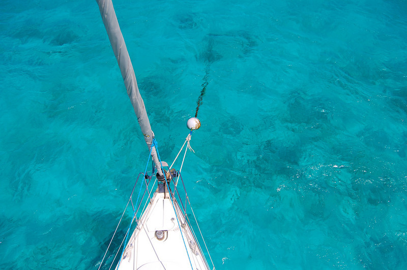 Off the bow in the Cays, from above.