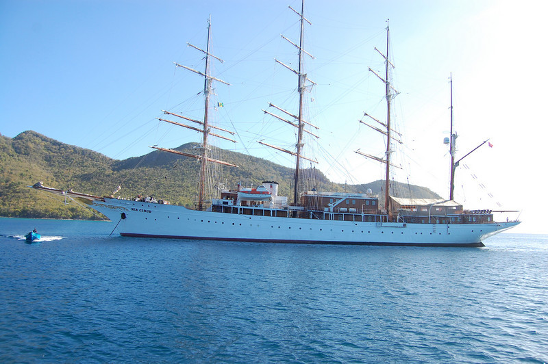 A big beautiful boat was anchored there: the Sea Cloud.