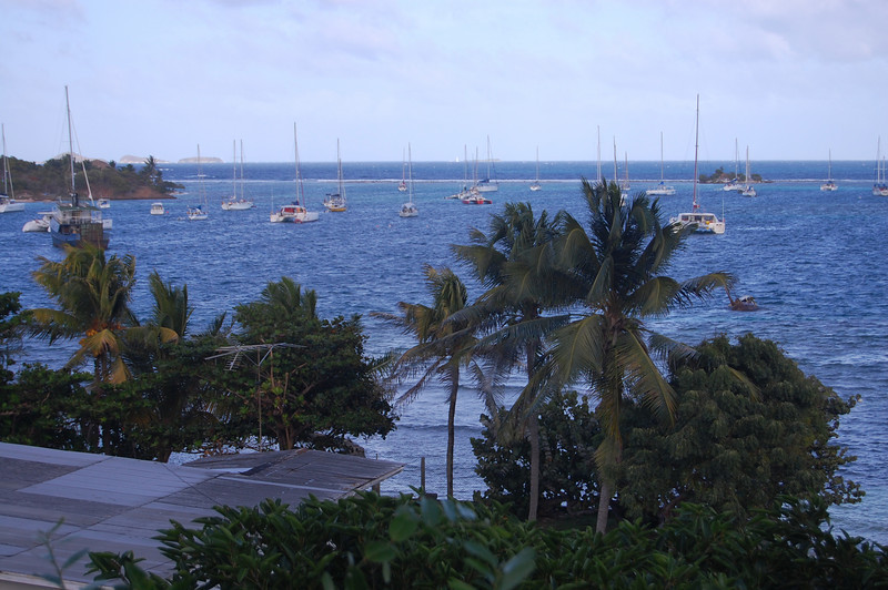 The view of the harbor from the Blue Pelican Bar at Castello's.