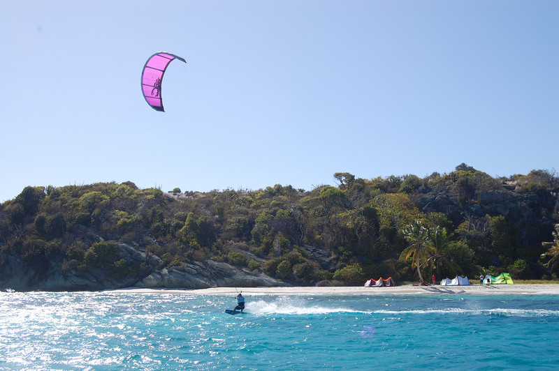 A little later that afternoon, kiteboarders set up on our deserted island.