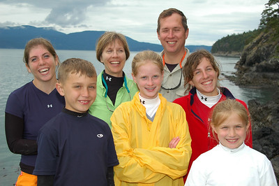 The Dickman Family on Strawberry Island (l. to r.): Maria (16), David (9), Kim (Mom), Natalie (12), Ted (Dad), Amy (16), Laura (9) - yes, that's two sets of twins.
