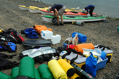 Our guides, Jeff and Chris, get the kayaks set in Anacortes before we all jump in to loading all this gear.