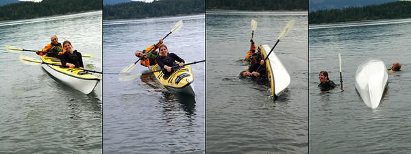 Three day sea kayaking trip to Cypress and Strawberry islands in the Puget Sound San Juan islands. Run by: Anacortes Kayak Tours. Guides: Jeff Hoeben (bald, yellow suit), Chris Porter(visor)  Dickman Family: Kim & Ted, Parents; Maria & Amy, 16 (twins); Natalie, 12; David and Laura, 9 (twins)