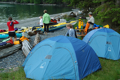 Setting up camp at Pelican Beach on Cypress Island