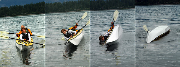 Amy and Jeff practice rolling the kayak over.