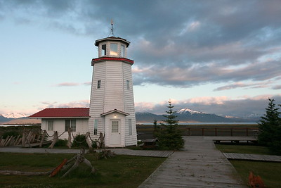 HOMER, AK - Dinner at a pizza place next to this light house and a great view of the mountains.