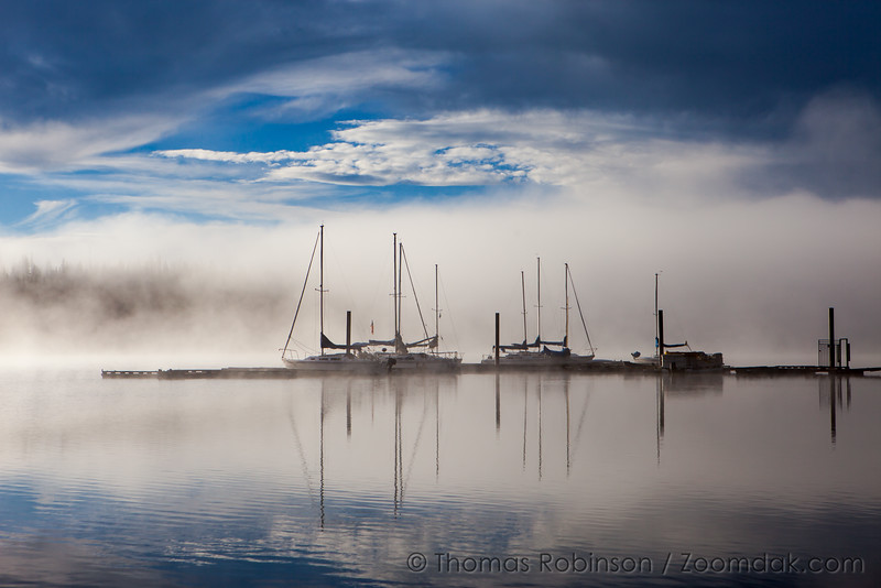 Elk Lake Dock in the Mist