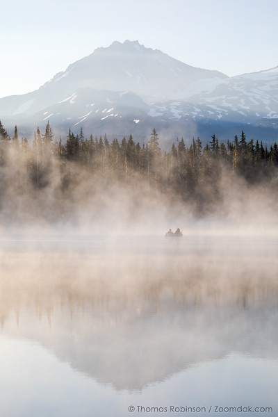 North Sister Morning Mist Reflection on Scott Lake