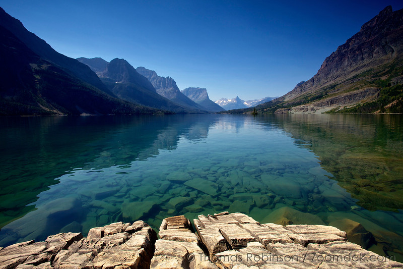 The amazing mountain-line surrounding St. Mary's Lake. Glacier National Park  is home to 762 total lakes with St. Mary's Lake as the second largest.