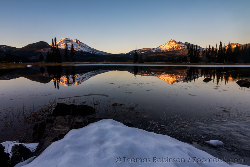 Alpenglow on South Sister and Broken Top