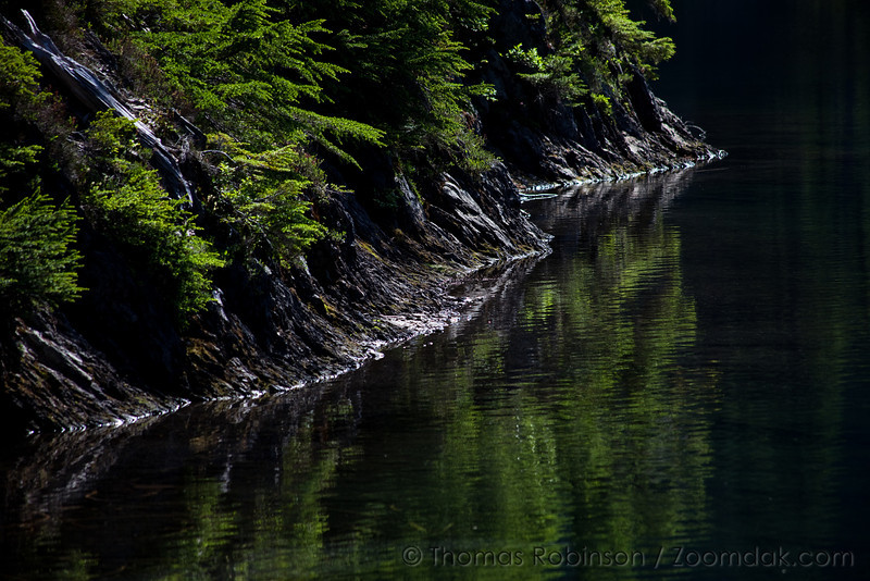 The lake edge shimmers in the afternoon light at Upper Lena Lake in the Olympic National Park.