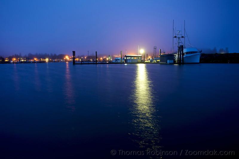 The evening lights illuminate Ilwaco Harbor in the city of Ilwaco, Washington.