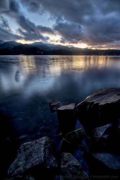 Twilight reflects off Lake Whatcom in Bellingham, Washington.