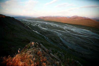 KONGAKUT RIVER, AK - As seen from Caribou Ridge in the shadow of the midnight sun a classic example of a braided river.