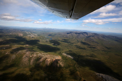 BROOKS MOUNTAINS, AK - Aboard the Helio Courier flying above the Arctic National Wildlife Refuge to the Kongakut River.