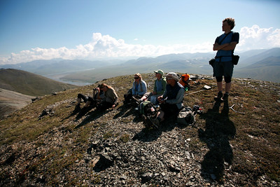KONGAKUT RIVER, AK - Camp VII: Caribou Ridge; Hike 3; The gang takes a break on a summit along Caribou Ridge during a hike on the tenth day of our river adventure.