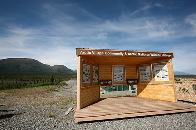ARCTIC VILLAGE, AK - An information booth about the history of Arctic Village and the Arctic National Wildlife Refuge at the Arctic Village airstrip.